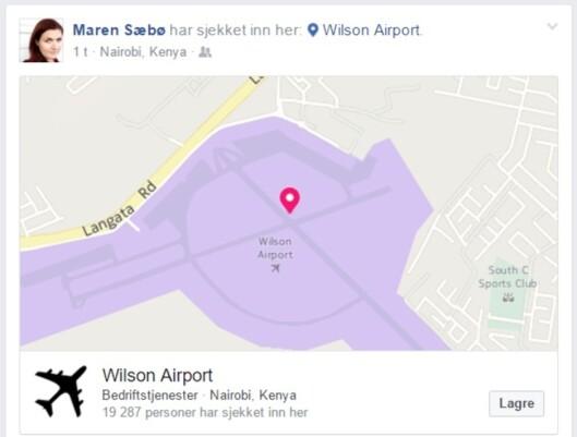 Maren Sæbø la ut denne Facebook-oppdateringen etter at hun<br>ankom flyplassen i Nairobi onsdag.