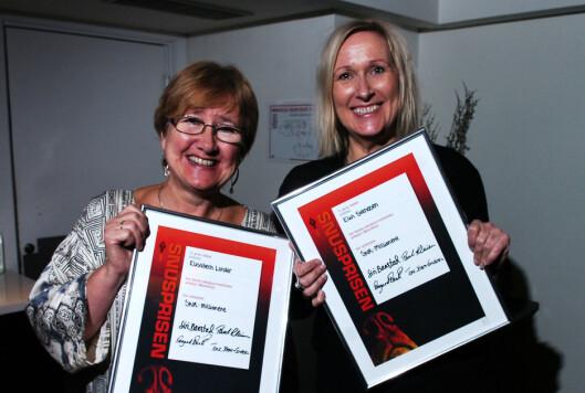 Elisabeth Lunder og Elin Svendsen fra Romerikes blad vant<br>SNUS-prisen 2015 for sin artikkelserie om pengebruken i<br>Samarbeidsrådet for Nedre Romerike.