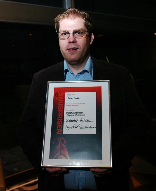 Prisen for beste pressefoto i Akershus<br>2015 gikk til Trine Jødal i Budstikka.<br>Redaktør Jørgen Dahl Kristensen<br>mottok prisen på hennes vegne.