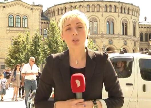 Ketevan Kardava rapporterer fra Oslo<br>etter 22. juli-terroreren. Skjermdupm fra reporterens<br>egen YouTube-kanal