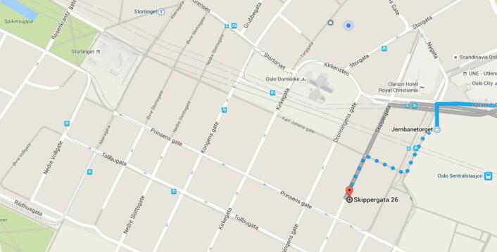 Spredd i sentrum: NJ holder til i Torggata, NR og NP i Rådhusgata, Fagpressen i Grensen, LLA og MBL i Kongens gate. Ett alternativ kan være å samle dem alle i Oslo Media House, som holder til i Skippergata. Illustrasjon: Google Maps