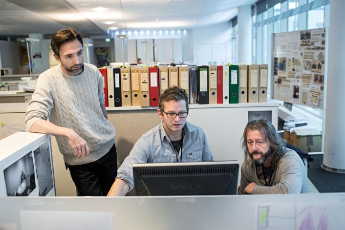 Journalistene Rune Vandvik (f.v), Thomas Ergo og Hans Petter Aass noen dager før publiseringen<br>30. januar. Foto: Jarle Aasland, Stavanger Aftenblad