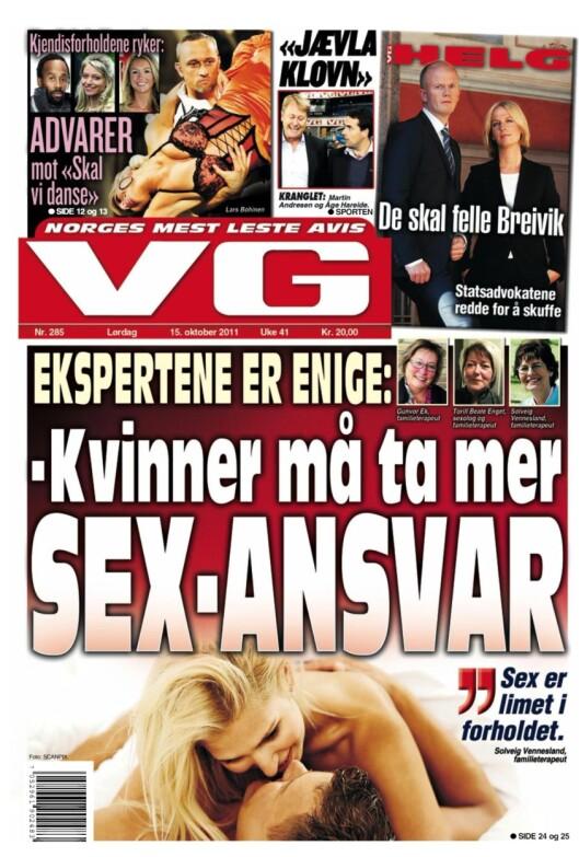 Faksimile av VGs førsteside 15. oktober 2011