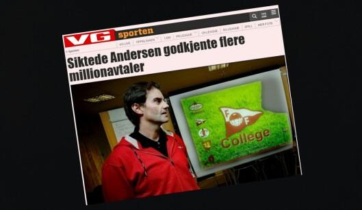 Dette oppslaget på VG Nett 14. desember 2011 var stridens<br>kjerne i klagesaken mot VG i PFU tirsdag. Også Fredriksstad<br>Blad var innklaget for ikke å ha beklaget påstander om Morgan<br>Andersen.