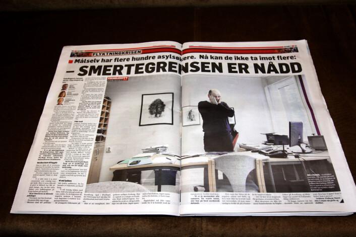 Et av oppslagene i lørdagens utgave av Nordlys. Foto: Glenn Slydal Johansen