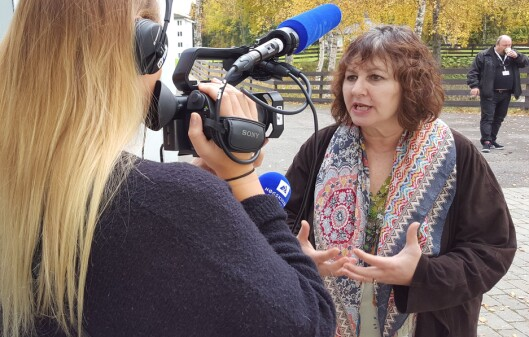Leslee Udwin ble intervjuet av blant andre Volda-studenter på GIJC15 på<br>Lillehammer. Foto: Bjørn Åge Mossin