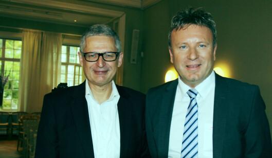 Flemming Rose (tv) og Vebjørn Selbekk på Fritt Ords<br>prisoverrekkelse tirsdag. Foto: Helge Øgrim