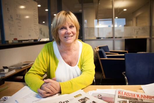 Hilde Haugsgjerd var sjefredaktør i perioden 2009-13. Her fotografert under et intervju med<br>Journalisten i forbindelse med avgangen i 2013. Foto: Kathrine Geard
