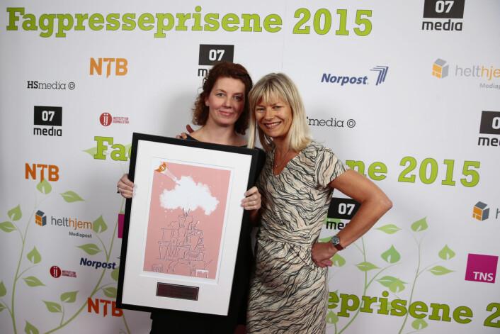 Fagpressens journalistpris gikk til Sykepleien og journalistene Ann-Kristin Bloch Helmers (t.v) og Marit Fonn. Foto:Håkon Mosvold Larsen/NTBscanpix