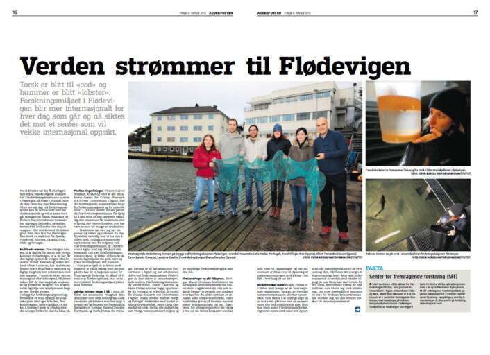 Slik så de to første sidene av reportasjen ut. Hentet fra Agderposten 6. februar.