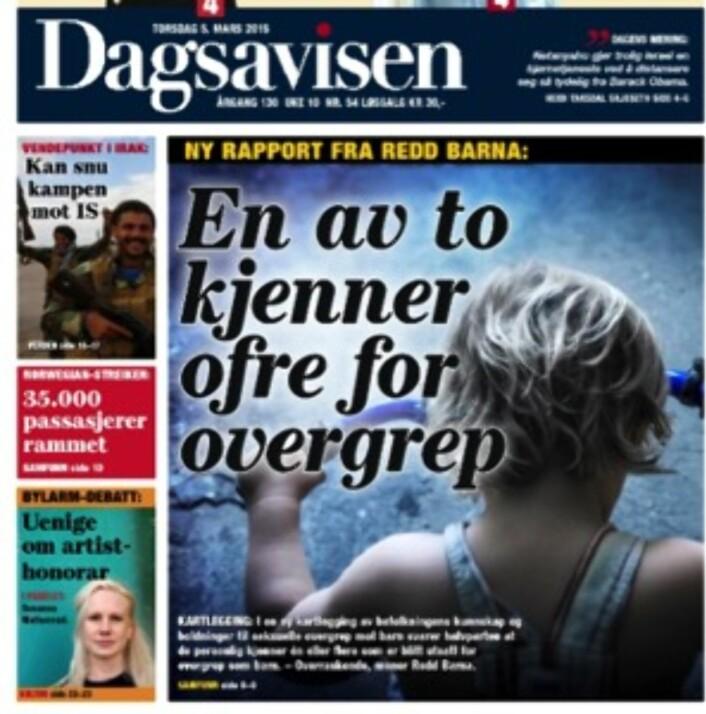 Dagsavisens forside 5.3.
