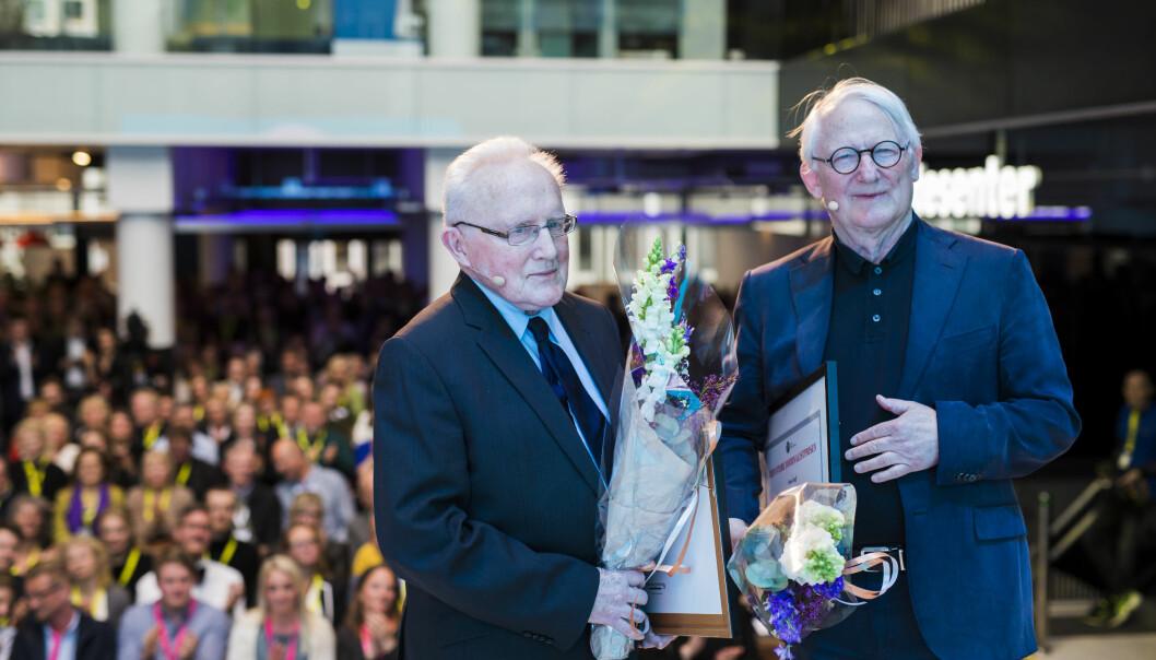 I 2018 mottok Finn Graff og Per Egil Hegge Den store Journalistprisen. 31 kandidater kan vinne prisen i år. Arkivfoto: Kristine Lindebø