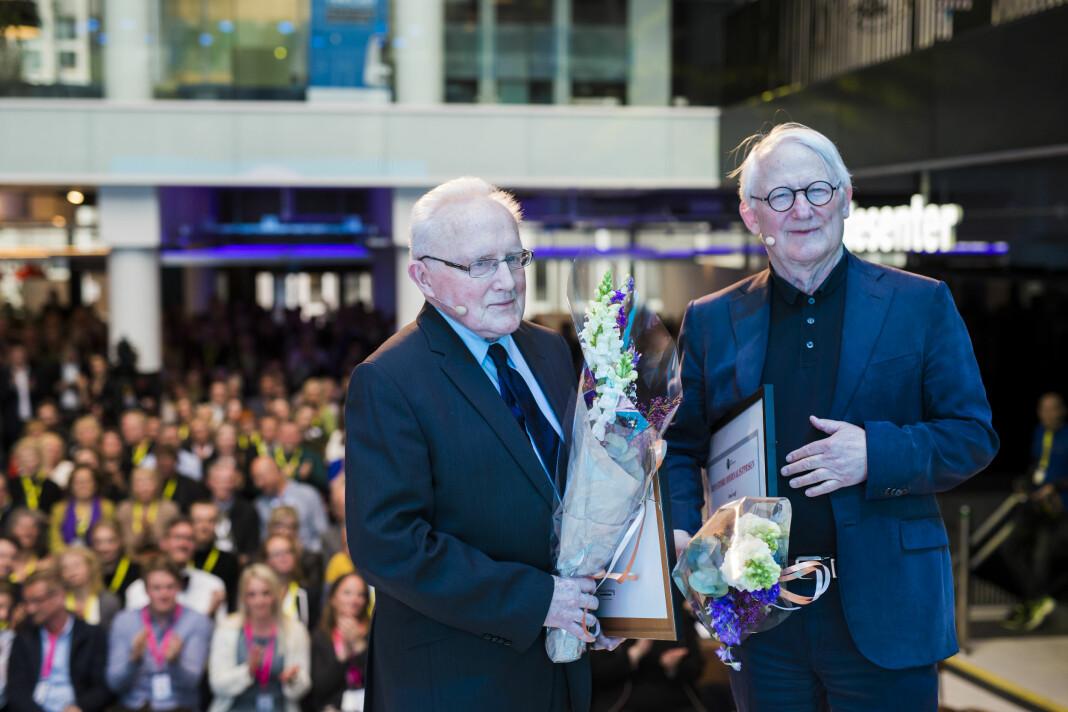 Den store journalistprisen går til Finn Graff og Per Egil Hegge vinner Den store Journalistprisen 2018. Foto: Kristine Lindebø