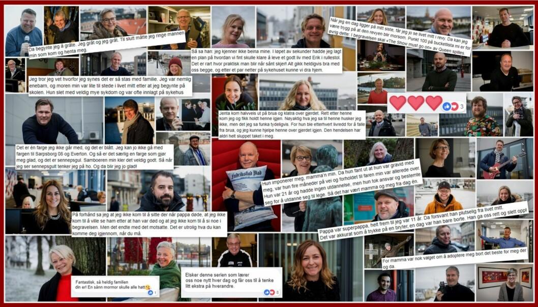 Bilder, sitater og kommentarer fra prosjektet «Folk i Fredriksstad blad». Kollasj: Fredrikstad blad
