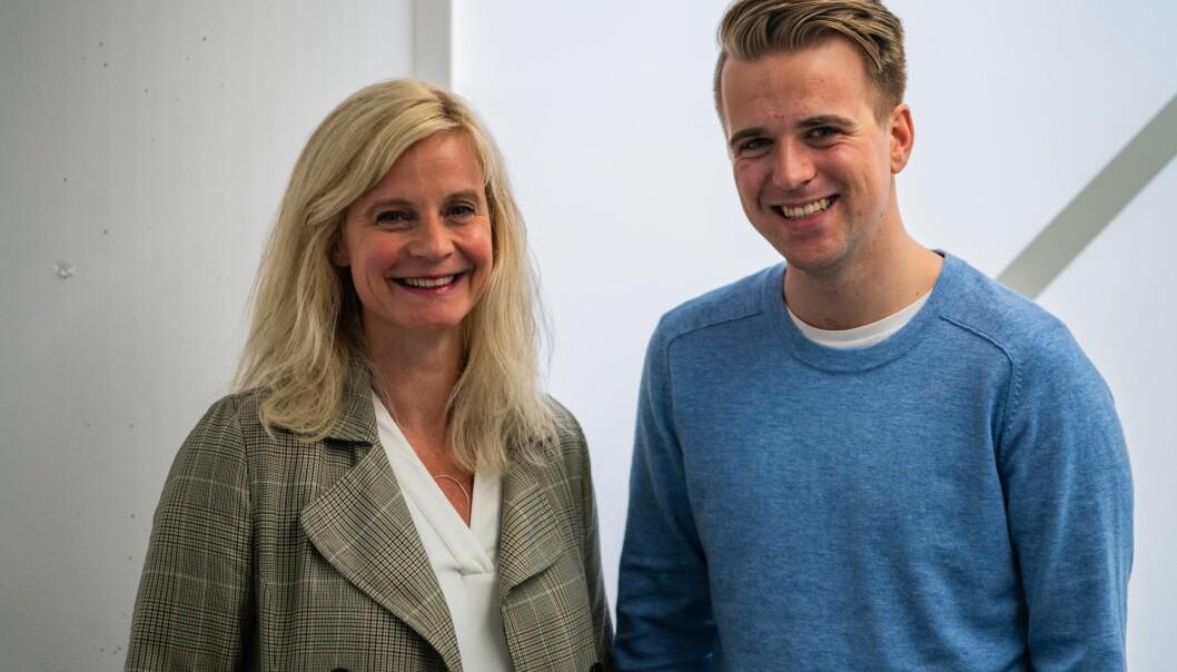 Nyhetsredaktør Karianne Solbrække i TV 2 sammen med TV 2-kommentator Mathias Fischer fra 1. september. Foto: Håvard Solem/TV 2.
