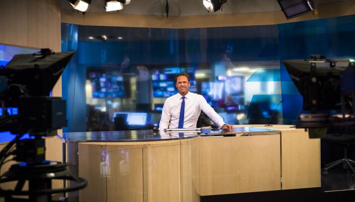 Tom Nilssen var på plass i studio på Marienlyst klokken 8.00 første dag etter streiken. Foto: Kristine Lindebø