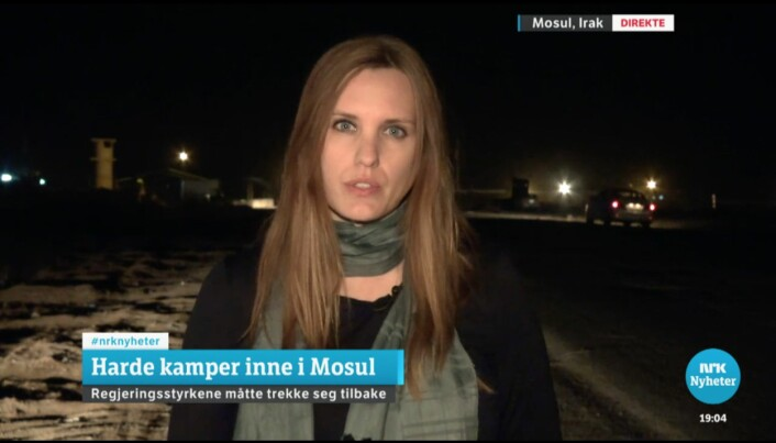 Solberg er rørt når hun forteller på direkten at Ahmed ikke overlevde. Foto: Skjermdump, NRK.no
