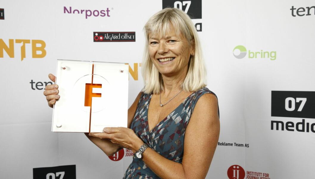 Fagpresseprisene 2018 på Månefisken: Vinner av forsideprisen, Sykepleien, ved Marit Fonn. Foto: Audun Braastad / NTB scanpix
