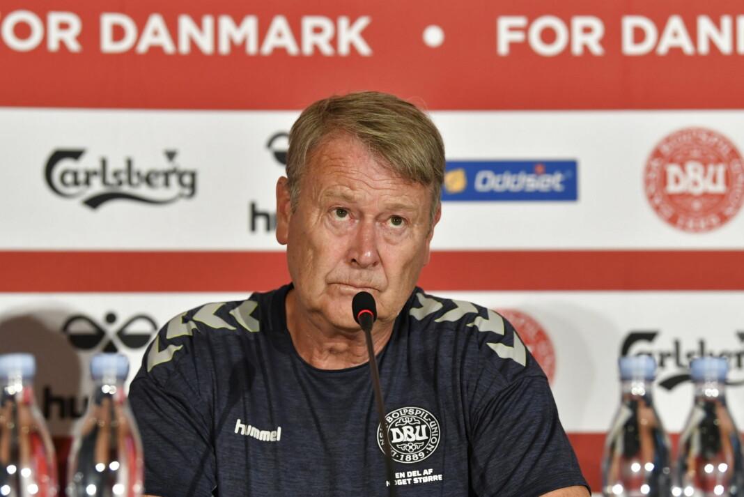 Åge Hareide var ikke blid da han fikk spørsmål om Nicklas Bendtner etter Danmarks 2-0-seier over Mexico. Foto: Anders Kjærbye / Ritzau / NTB scanpix