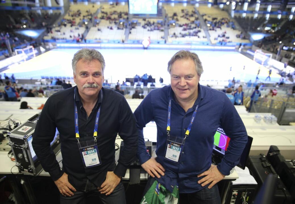TV 2s kommentatorpar Harald Bredeli (tv) og Bent Svele blir ikke å se under mesterskap framover. Foto: Vidar Ruud / NTB scanpix