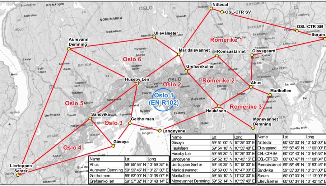 Dette er området med de åtte sonene som Luftfartstilsynet foreslår politiet skal ha mulighet til å nedlegge midlertidig forbud mot droneaktivitet i. Illustrasjon: Luftfartstilsynet