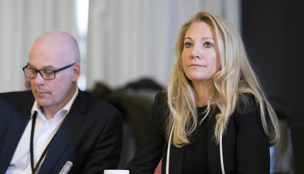 Kringkastingssjef Thor Gjermund Eriksen og rådsleder Julie Brodtkorb (H) under et møte i Kringkastingsrådet tidligere i år. Foto: Håkon Mosvold Larsen / NTB scanpix