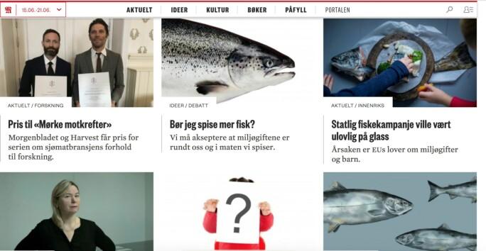 Her er noen av artiklene Sætre og Østli har skrevet. Serien ble hedret med pris for god forskningsjournalistikk utgitt av Vitenskapsakademiet i Stavanger Foto: skjermdump Morgenbladet.no.