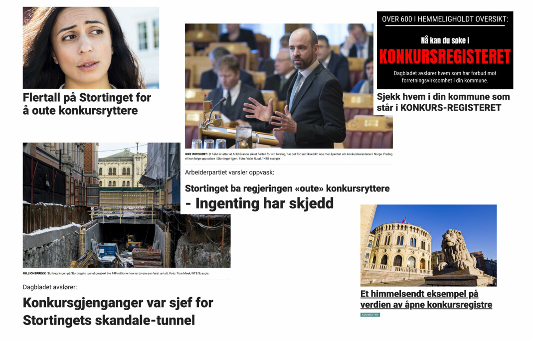 Offentlighetsutvalget viser til Dagbladets konkursregister og saker om temaet. Foto: Kollasj/skjermdump, db.no