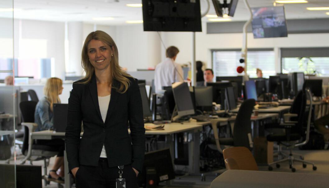 Alexandra Beverfjord i den nye redaksjonen hun fra mandag er øverste leder for. Foto: Glenn Slydal Johansen