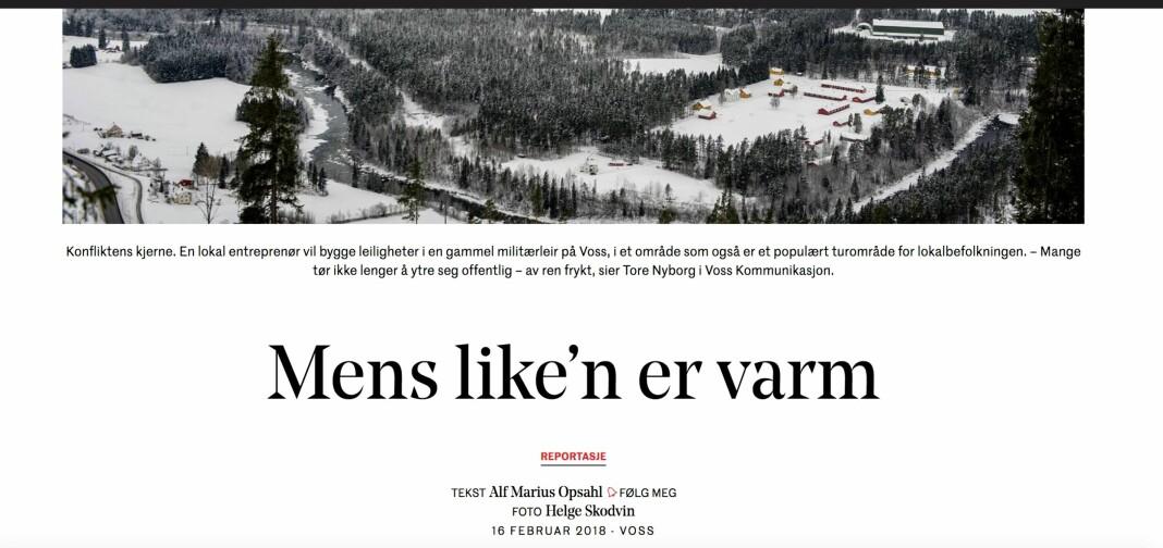 Stridens kjerne: Dagens Næringslivs reportasje fra Voss er blitt klaget inn til Pressens Faglige Utvalg.