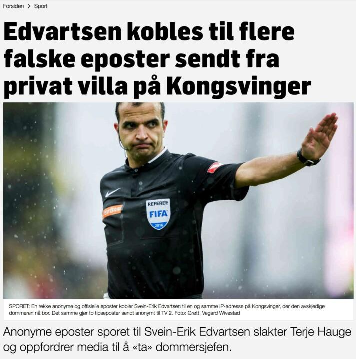Toppen av den ene artikkelen TV 2 får kritikk for. Skjermbilde: TV2.no