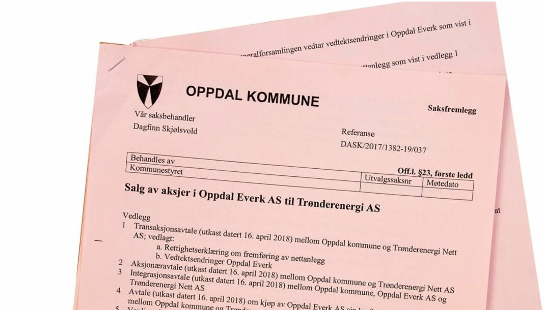 Stridens kjerne. Dokumentene som politikerne ikke vil at lokalavisa OPP skal være i besittelse av. Skjermdump fra opp.no