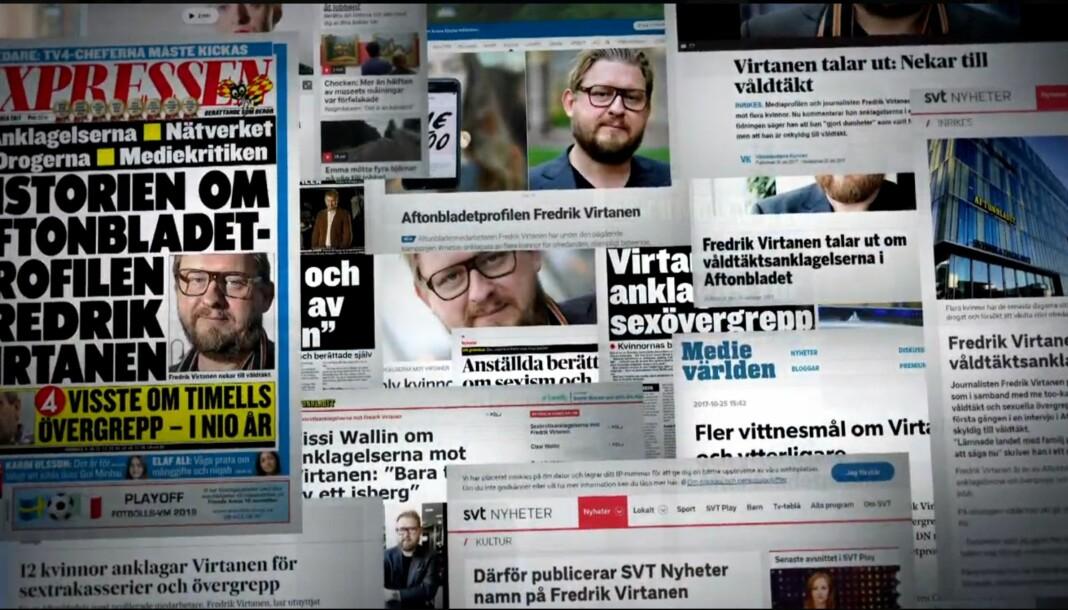 Flere mediepersonligheter ble navngitt som overgripere i svenske medier. Den tidligere Aftonbladet-profilen Fredrik Virtanen var en av dem. Foto: SVT