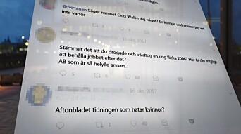 Flere medieprofiler ble hengt ut i sosiale medier. Flere av navnene dukket deretter opp i tradisjonelle medier. Foto: SVT