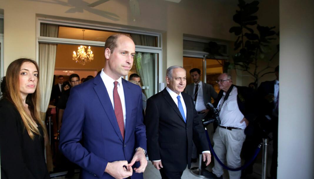 Nyhetsbyrået APs TV-produsent i Israel fikk ikke dekke prins Williams møte med statsminister Benjamin Netanyahu, fordi sikkerhetsvaktene mistenkte ham for å være muslim. Foto: Reuters / NTB scanpix