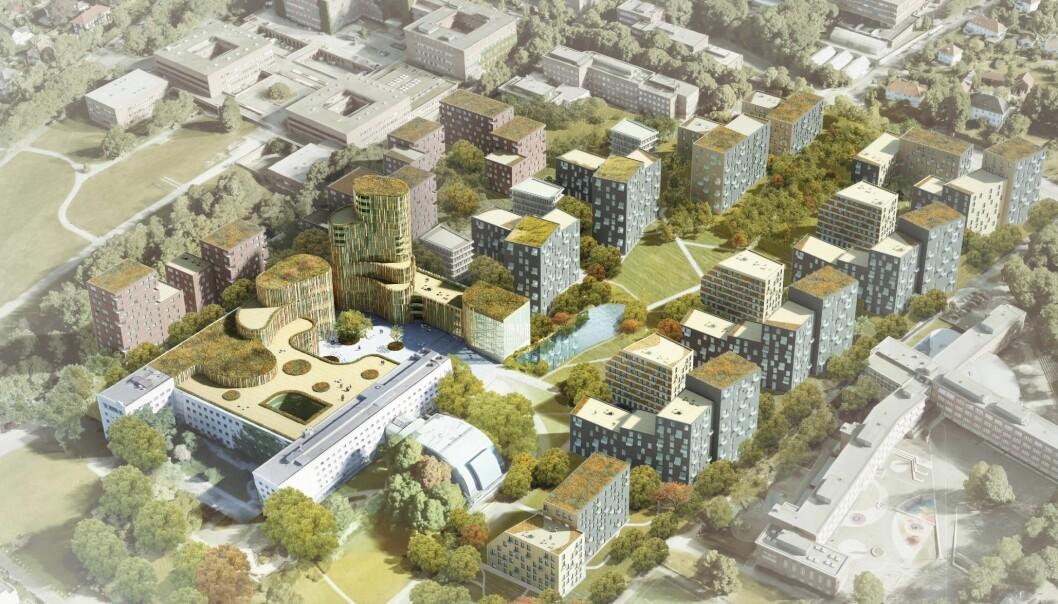 Slik ser arkitektkontoret 4B seg for at Marienlyst kan bli seende ut. Nedre del av Blindern er oppe til venstre og Marienlyst skole nede til høyre. Foto: 4B Arkitekter/NRK