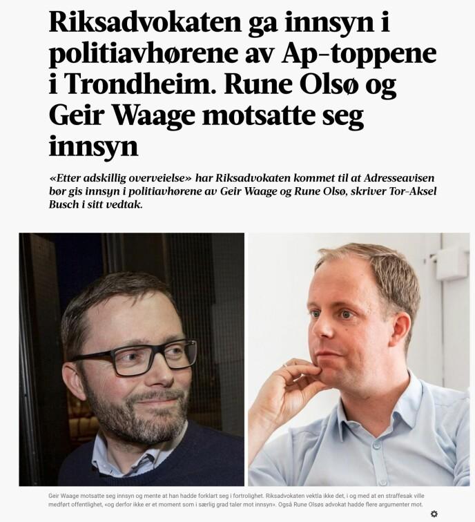 Skjermdump fra Adresseavisens sak om innsyn. Faksemile: Adressa.no