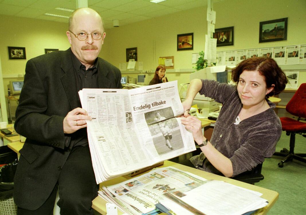 Daværende sjefredaktør Iver Hammeren og klubbleder Wigdis Korsvik i Nordlandsposten. Foto: Erik Veigård, NTB / SCANPIX