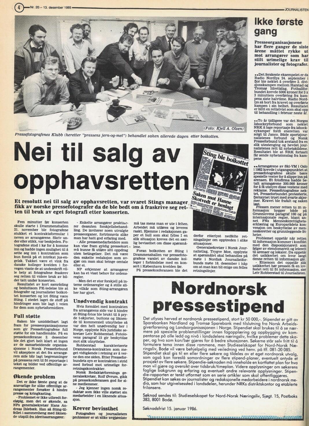 Slik så det ut da bildet stod på trykk i Journalisten nr. 20 – 1985.