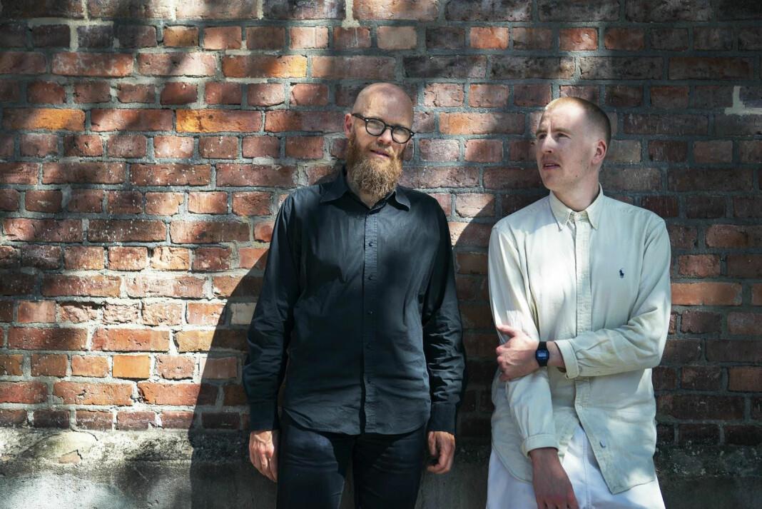 Grunnlegger og direktør i Filt, Anders Elfström (t.v) på Oslo-besøk hos Peter Daatland, grunnlegger av podkastkollektivet Frekvens, i mai. Nå kjøper Filt opp Frekvens og etablerer seg i Norge. Pressefoto: Christian Breidlid