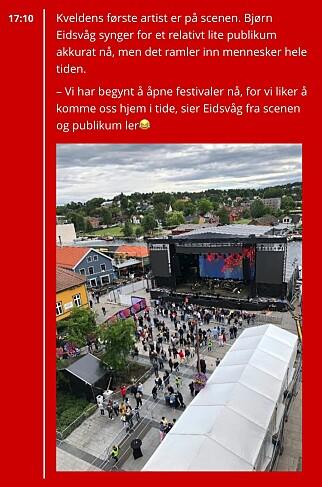 Slik ser det ut i direktestudioet som Halstensen styrer. Her fra Idyllfestivalen.