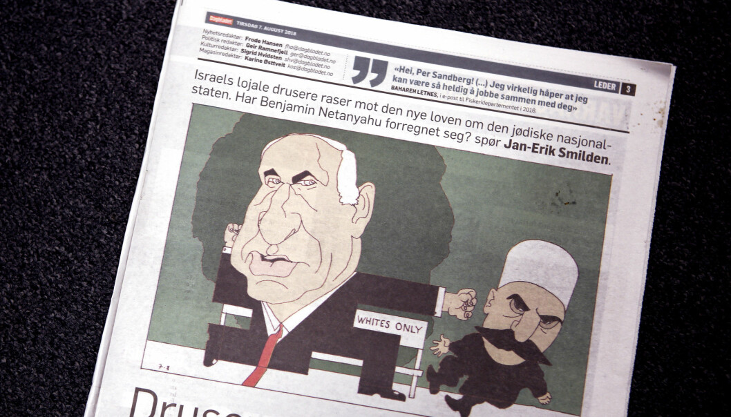 Den israelske ambassaden reagerer sterkt på Finn Graffs tegning i Dagbladet torsdag 7. august. Foto: Marianne Løvland / NTB scanpix