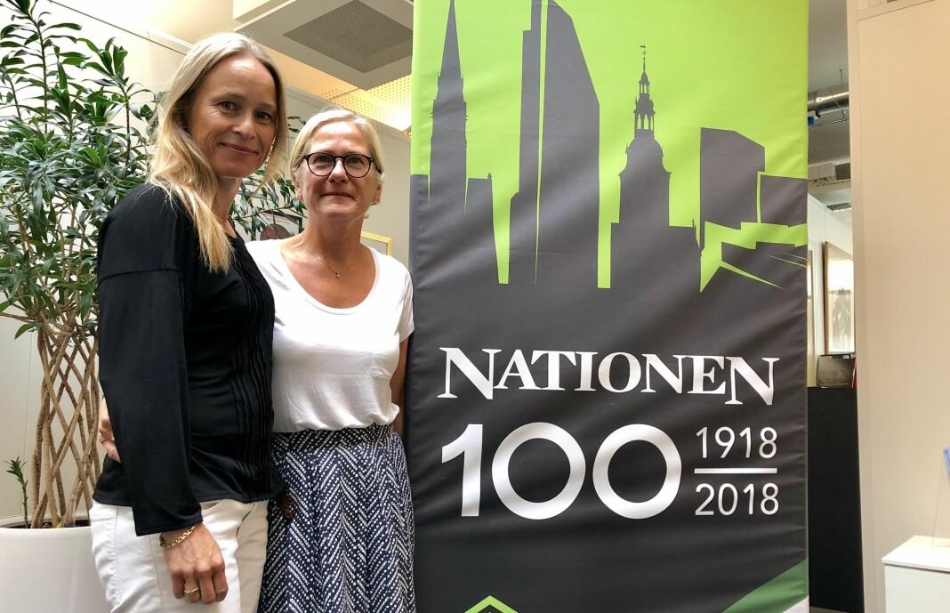 I fjor omsatte Nationen for 76,2 millioner kroner, opp fra 74,9 millioner kroner året før. På bildet: Sjefredaktør Irene Halvorsen og konsernsjef Lise Vedde-Fjærestad.