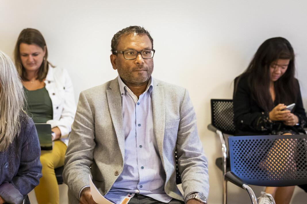 Migrapolis-profil Rajan Chelliah venter hver dag på svar fra tingretten om han mister jobben eller ikke. Bildet fra Arbeidsretten i fjor. Arkivfoto: Kristine Lindebø