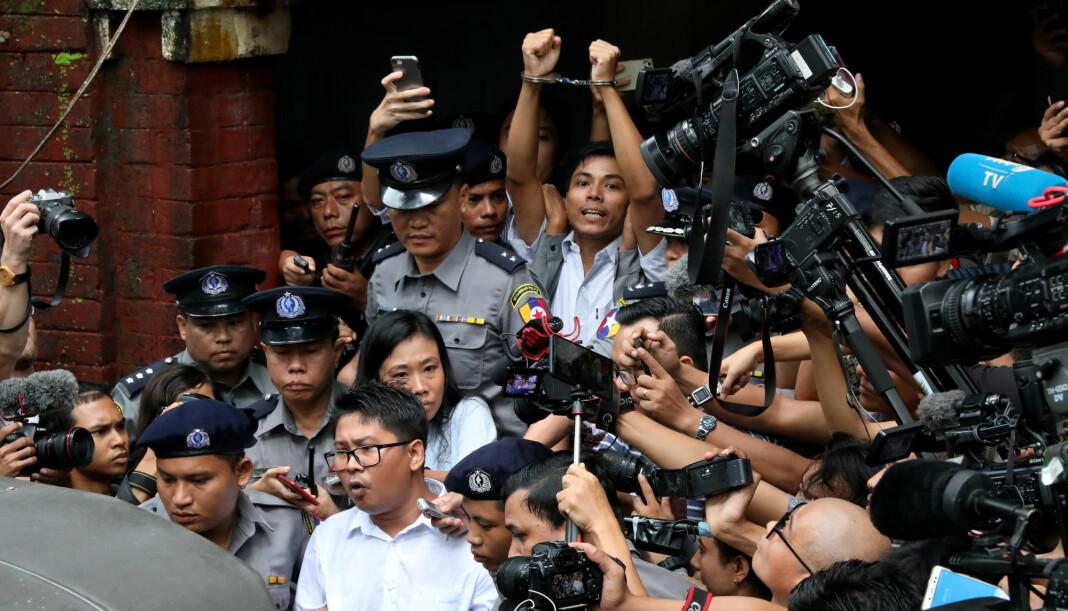 Reuters-journalistene Wa Lone (32) og Kyaw Soe Oo (28) jobbet med å avdekke overgrep i delstaten Rakhine og drapene på den muslimske rohingyaminoriteten da de ble pågrepet. Foto: Reuters / NTB scanpix