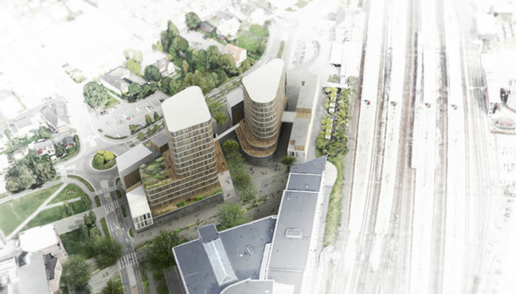 Slik så arkitektkontoret Tegn 3 for seg en utnyttelse av tomten i Lillestrøm i 2016. Foto: Tegn 3