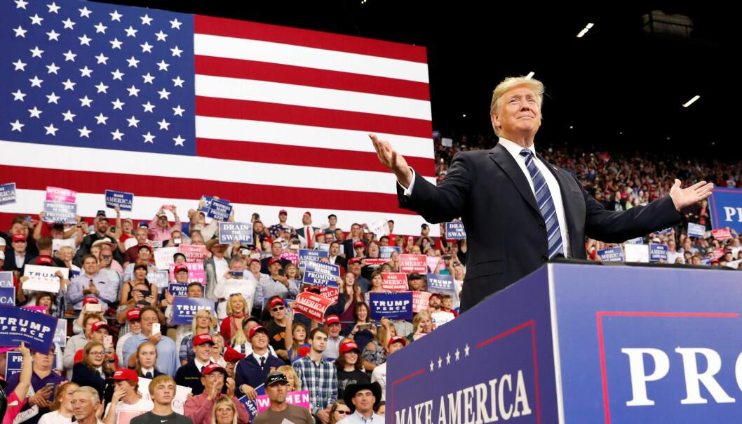 President Donald Trump under folkemøtet i Billings i delstaten Montana torsdag.