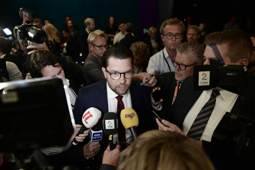 Sverigedemokraternas Jimmie Åkesson etter SVTs partilederdebatt. Foto: Stina Stjernkvist/TT / NTB scanpix