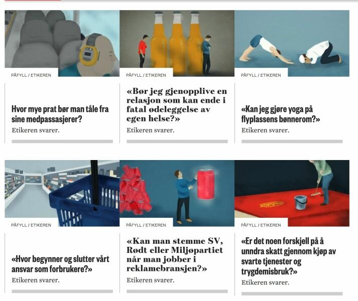 Noen av de siste dilemmaene fra Morgenbladets spalte Etikeren. Foto: Skjermdump, Morgenbladet.no