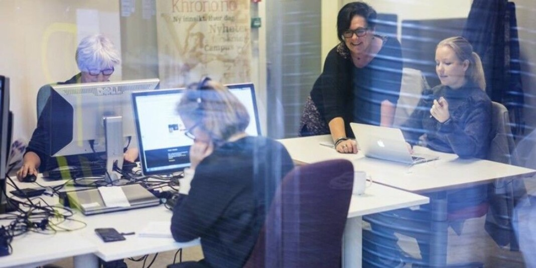 Full aktivitet i Khrono-redaksjonen. Denne uka ble det formelt klart at Khrono blir en nasjonal avis. Arkivfoto: Khrono